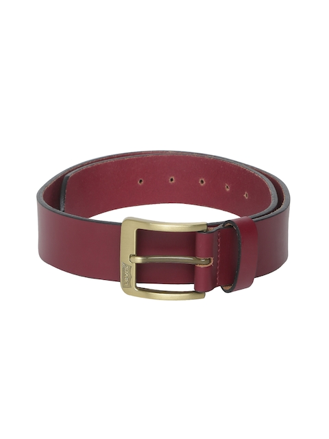 Levis Men Red Solid Leather Belt