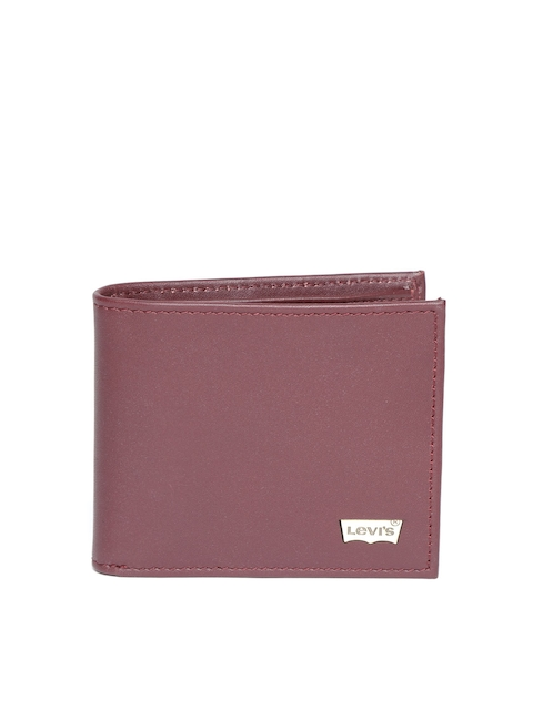 Levis Men Burgundy Solid Two Fold Leather Wallet