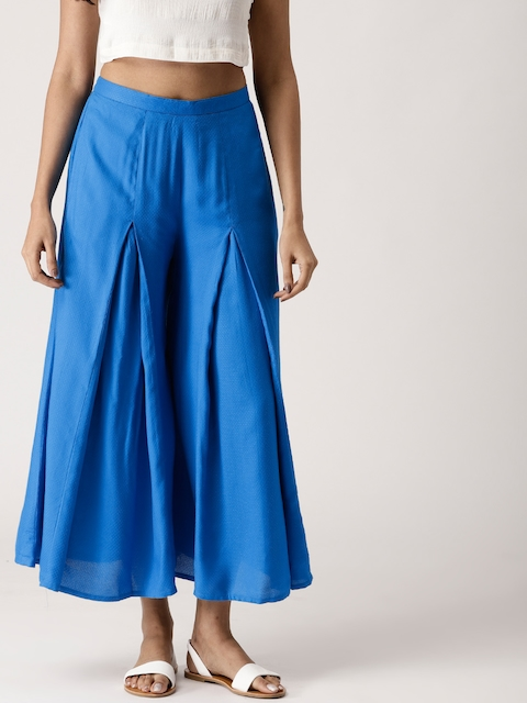 Libas Women Blue Flared Self Design Palazzos