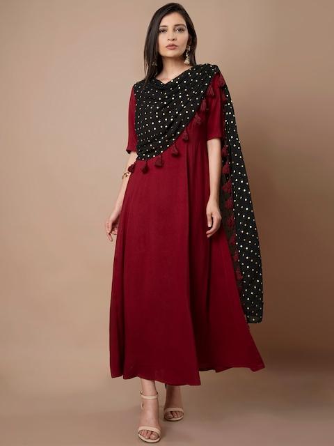 INDYA Women Maroon Solid Maxi Dress