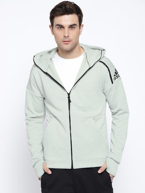 Adidas Men Grey Melange Solid Z.N.E Fast Release Hooded Sweatshirt