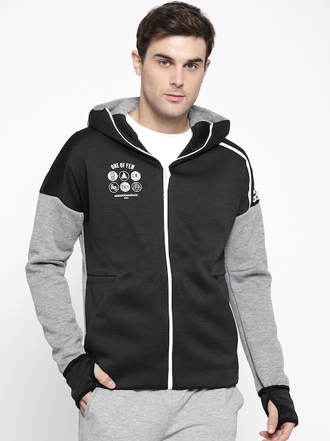 Adidas Men Black & Grey Melange Solid Z.N.E Fast Release Hooded Sweatshirt