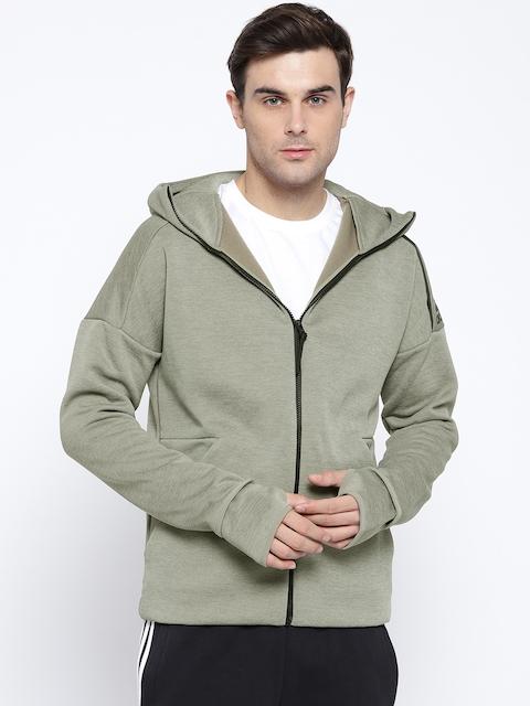 Adidas Men Olive Green Solid Z.N.E Fast Release Hooded Sweatshirt