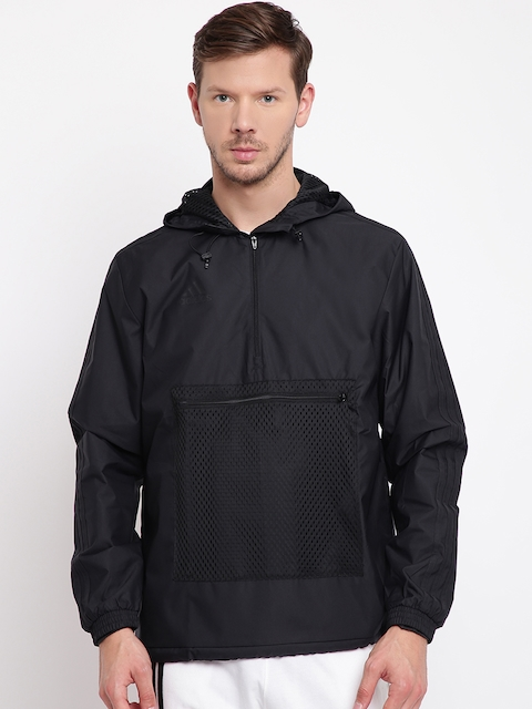Adidas Men Black Solid Tango Windbreaker Football Jacket