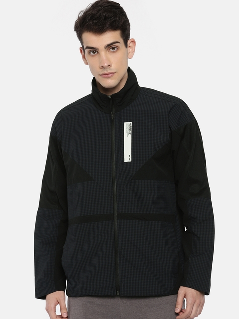 Adidas Originals Men Black NMD TRACK TOP Checked Lightweight Tailored Jacket
