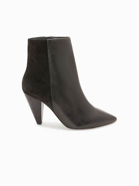 next Women Black Colourblocked Leather Heeled Boots
