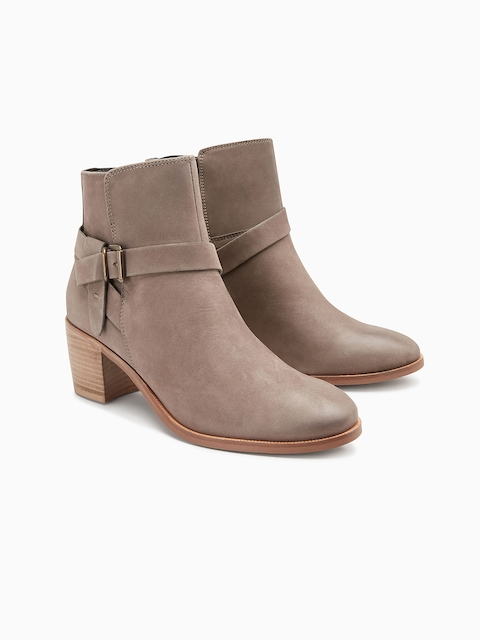 next Women Brown Solid Leather Heeled Boots