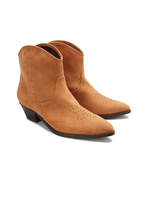 next Women Tan-Brown Solid Heeled Boots