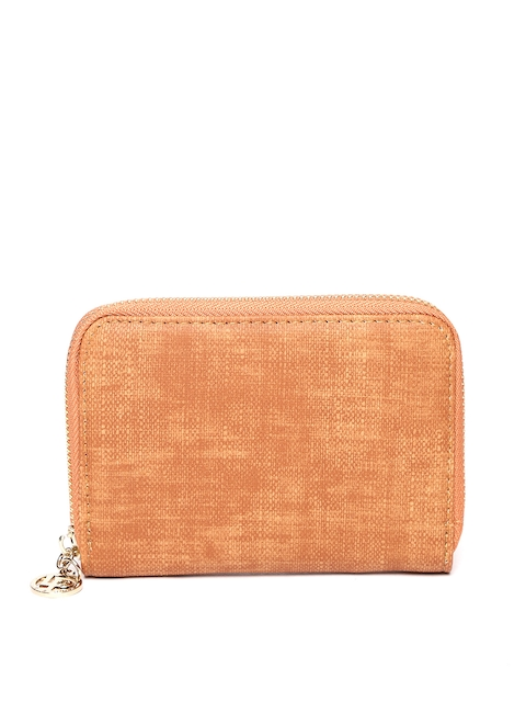 Lisa Hayden for Lino Perros Women Tan Brown Solid Zip Around Wallet
