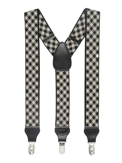 Alvaro Castagnino Men Black & Brown Checked Suspenders