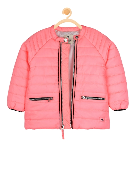 Cherry Crumble Boys Pink Solid Water Resistant Padded Jacket