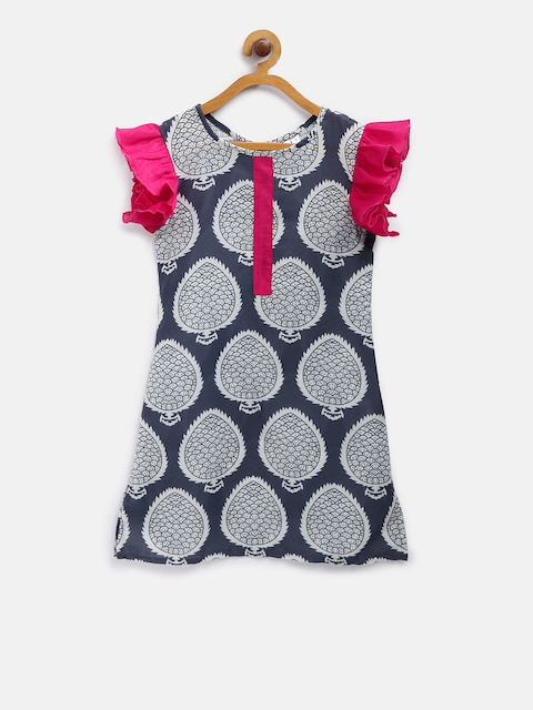K&U Girls Navy Blue & Off-White Printed Kurti