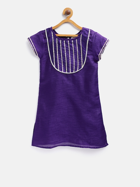 K&U Girls Purple Solid Kurti