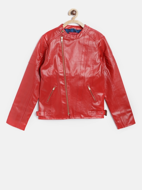 Allen Solly Junior Girls Red Solid Asymmetric Closure Leather Jacket