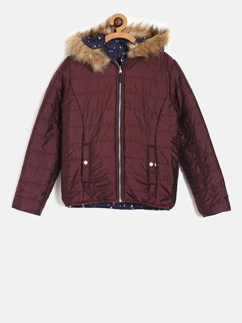 Allen Solly Junior Girls Navy Blue & Maroon Reversible Padded Jacket