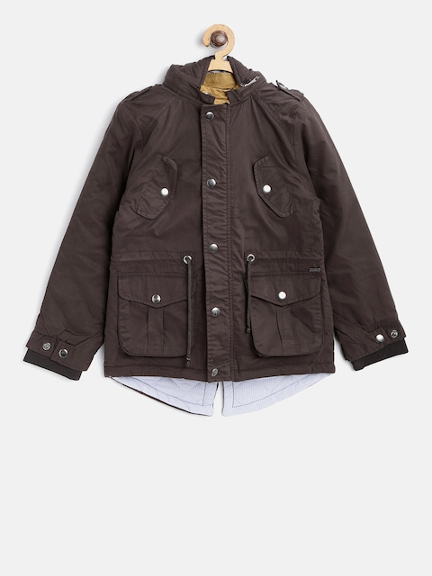 Allen Solly Junior Boys Coffee Brown Solid Hooded Tailored Jacket