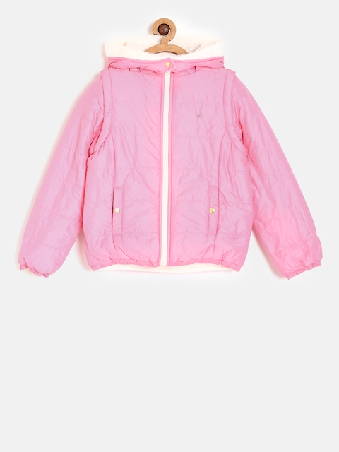 Allen Solly Junior Girls Pink & Peach Solid Reversible Padded Jacket