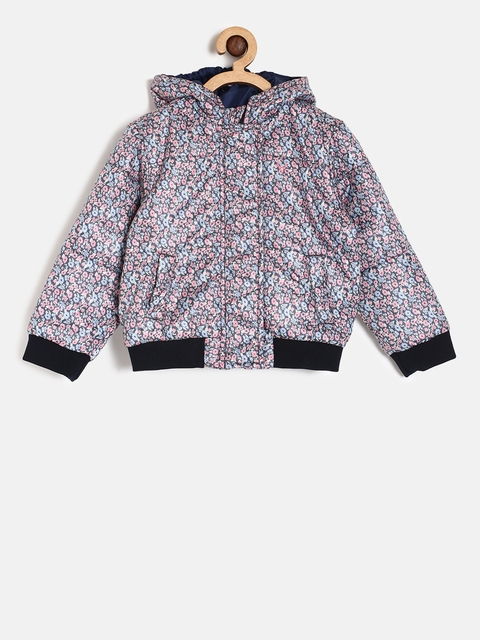 Allen Solly Junior Girls Blue & Pink Printed Padded Jacket