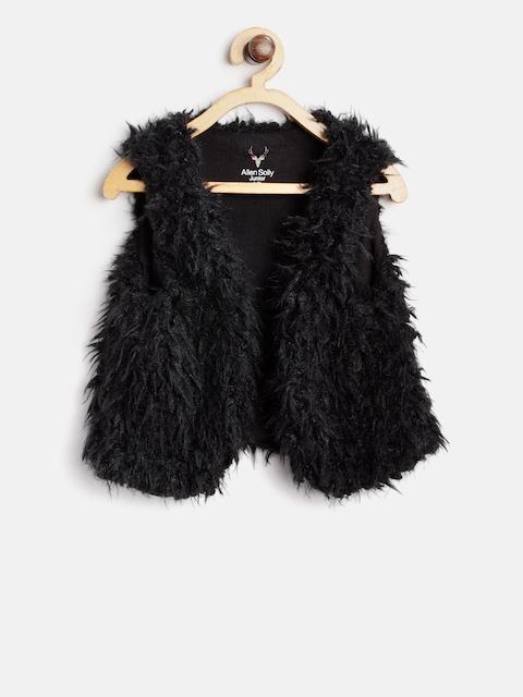 Allen Solly Junior Girls Black Faux Fur Open Front Jacket