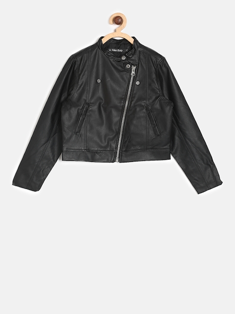 Allen Solly Junior Girls Black Solid Leather Jacket