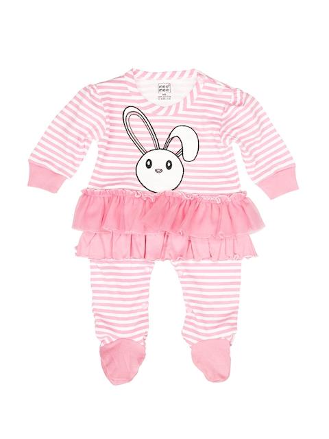 MeeMee Girls Pink & White Striped Sleepsuit