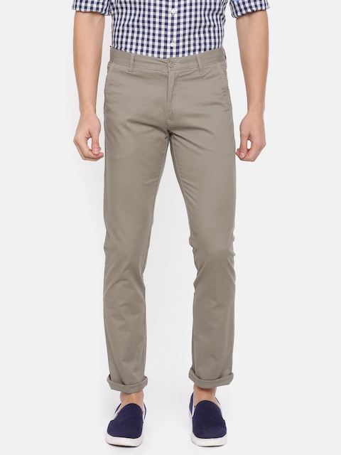 IZOD Men Brown Slim Fit Solid Regular Trousers