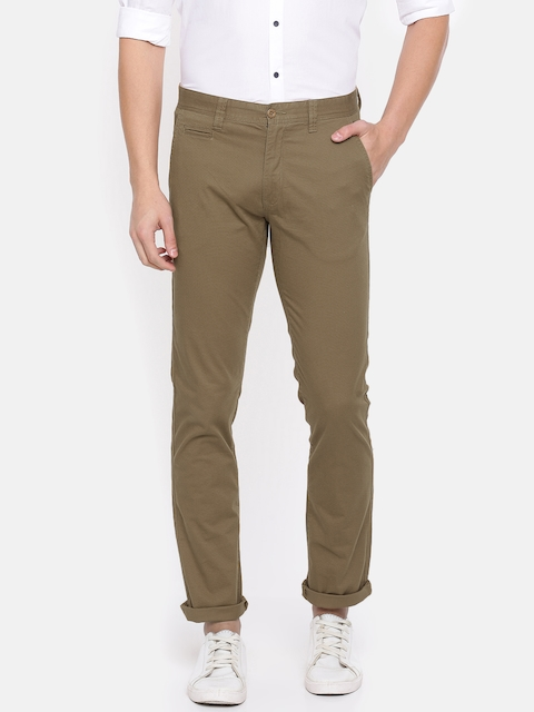 IZOD Men Khaki Slim Fit Solid Regular Trousers