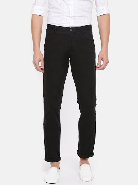 IZOD Men Black Slim Fit Solid Regular Trousers