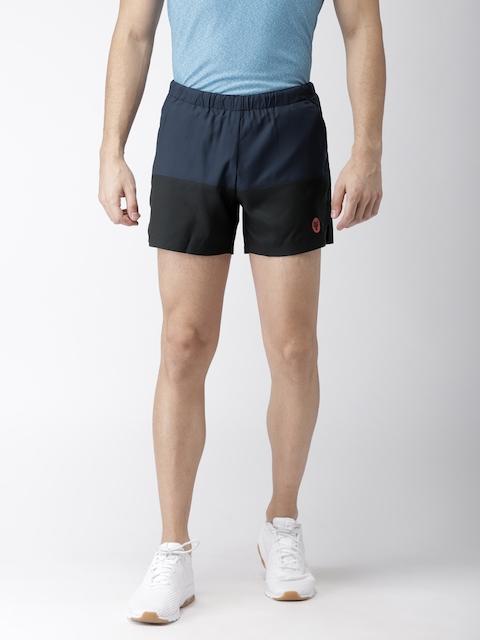 2GO Men Navy Blue & Black Colourblocked Regular Fit Running Shorts