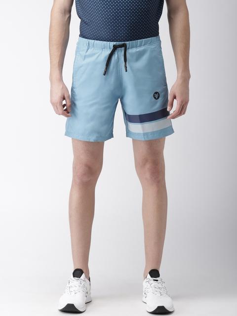 2GO Men Blue Solid Regular Fit Sports Shorts