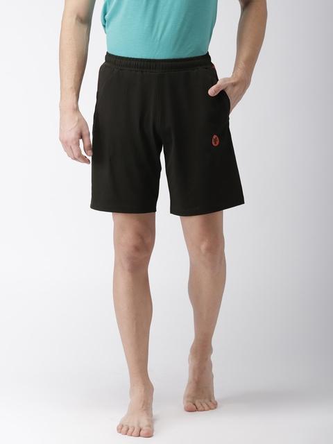 2GO Men Black Solid Yoga Shorts