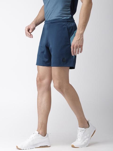 2GO Men Blue Solid Regular Fit Go-Dry Sports Shorts