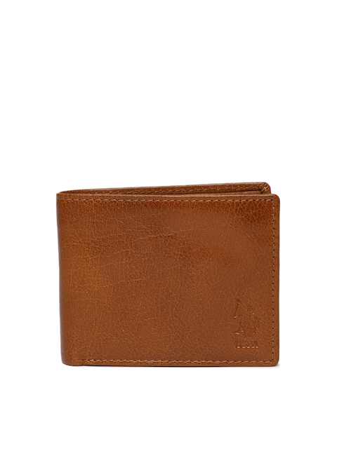 U.S. Polo Assn. Men Tan Brown Solid Leather Two Fold Wallet