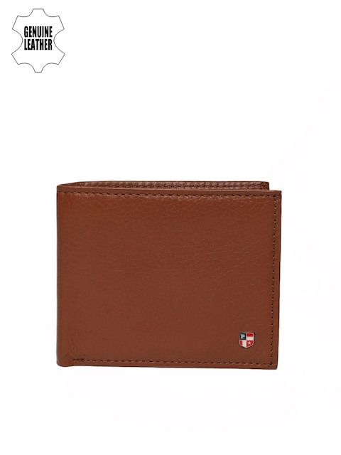 U.S. Polo Assn. Men Tan Brown Textured Genuine Leather Two Fold Wallet