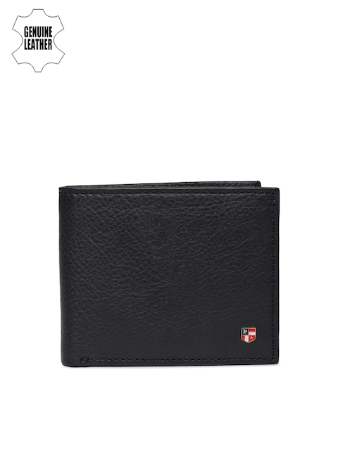 U.S. Polo Assn. Men Navy Blue Textured Genuine Leather Two Fold Wallet