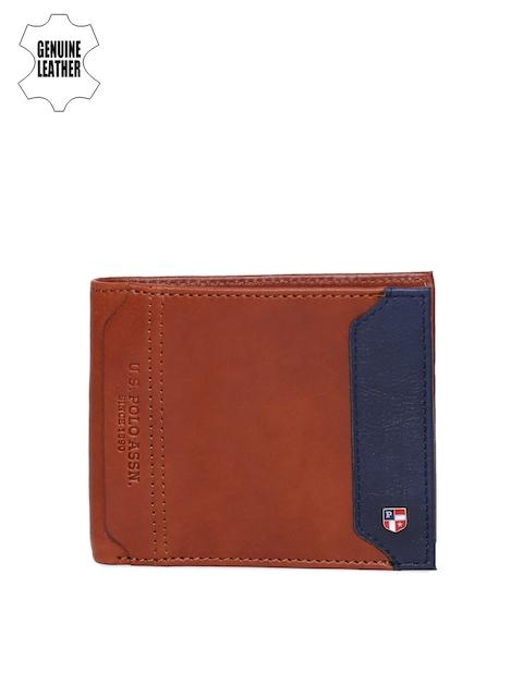 U.S. Polo Assn. Men Tan Solid Two Fold Leathee Wallet