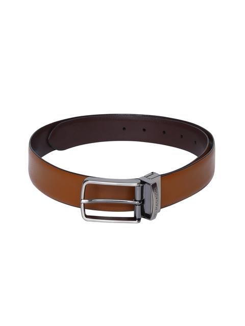 U.S. Polo Assn. Men Tan Solid Leather Reversible Belt