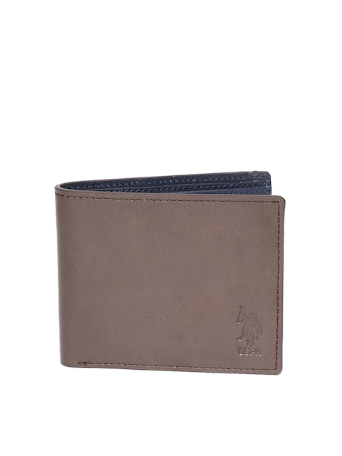 U.S. Polo Assn. Men Coffee Brown Solid Leather Two Fold Wallet
