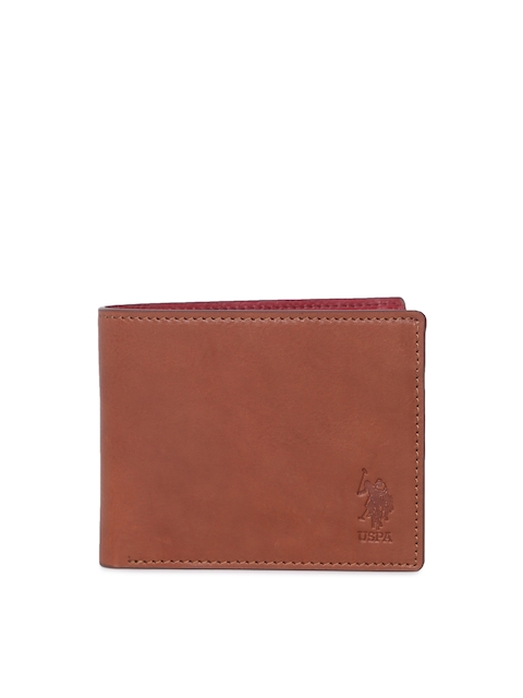 U.S. Polo Assn. Men Tan Solid Genuine Leather Two Fold Wallet