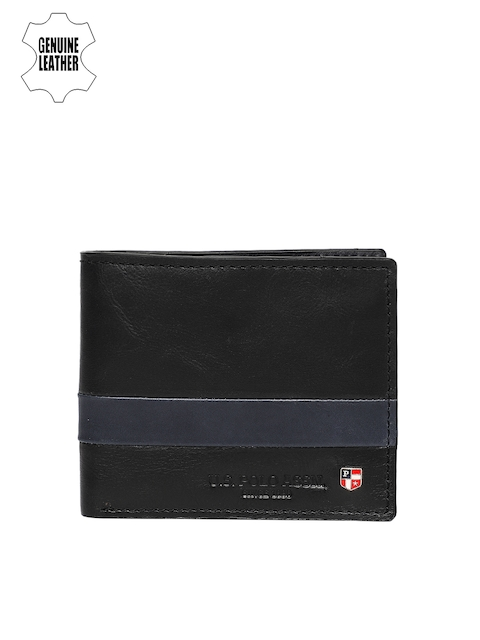U.S. Polo Assn. Men Black Solid Genuine Leather Two Fold Wallet