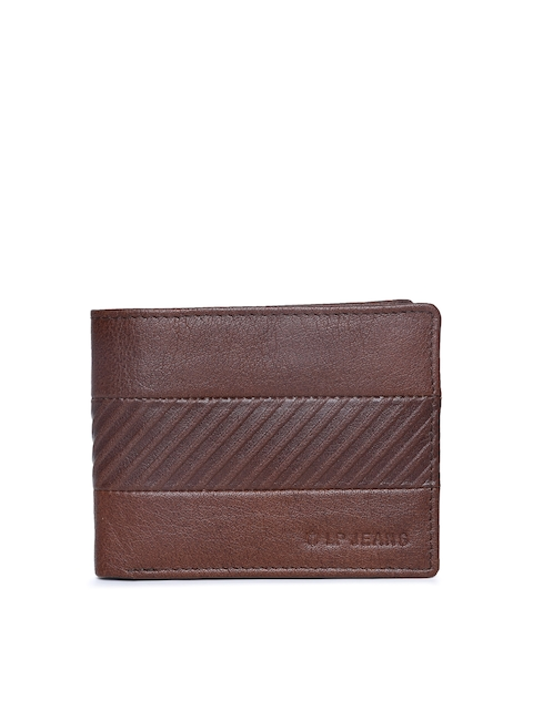 Louis Philippe Men Tan Solid Two Fold Leather Wallet