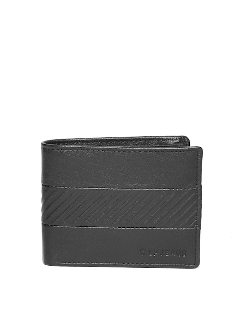 Louis Philippe Men Black Leather Textured Two Fold Wallet
