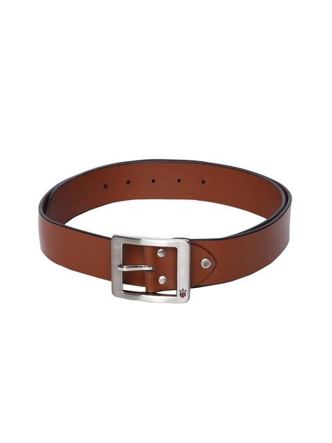 Louis Philippe Men Tan Solid Leather Belt