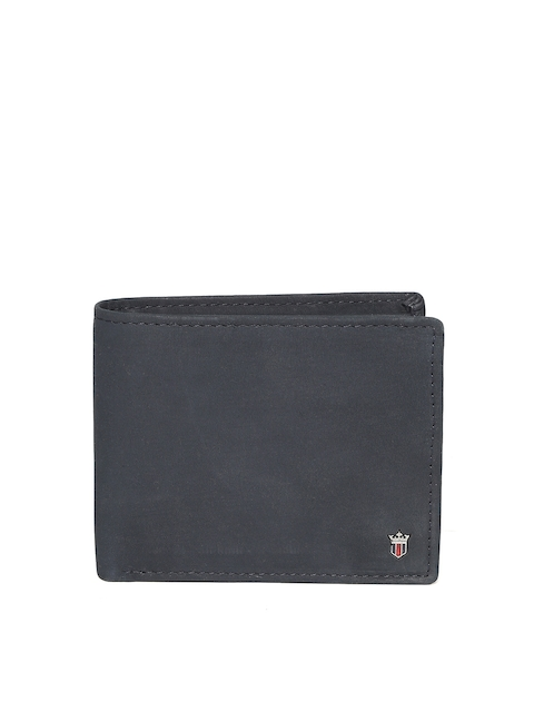 Louis Philippe Men Black Leather Solid Two Fold Wallet