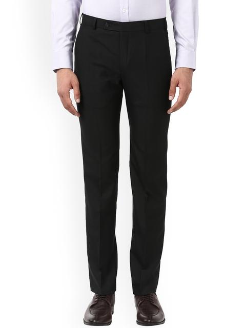 Park Avenue Men Black Slim Fit Solid Formal Trousers