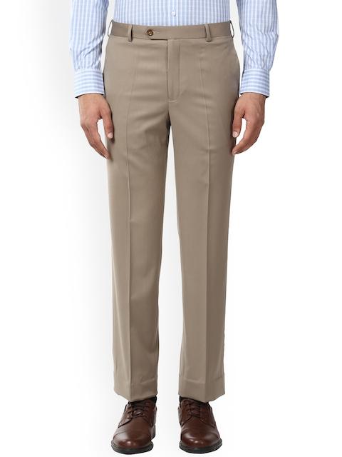 Park Avenue Men Beige Solid Formal Trousers