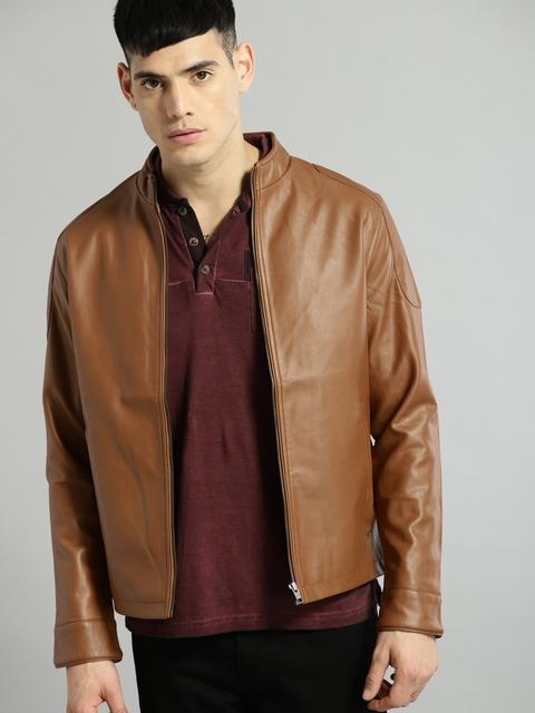 Roadster Men Tan Solid Leather Jacket