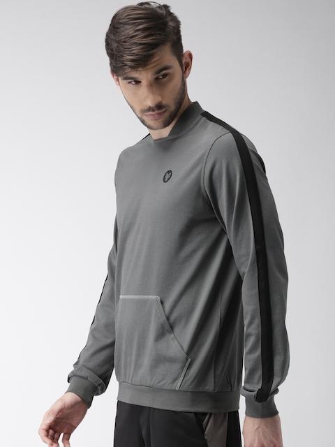 2GO Men Grey Solid Sweatshirt