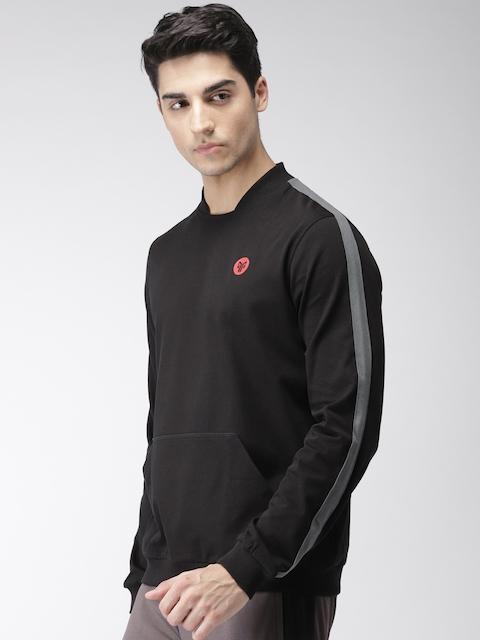 2GO Men Black Solid Sweatshirt
