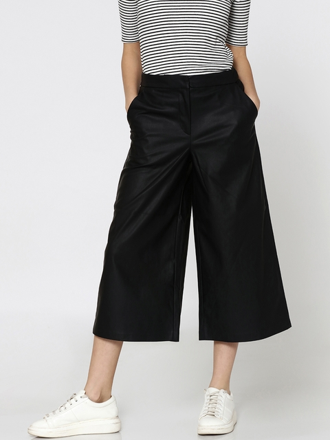 ONLY Women Black Regular Fit Solid Culottes